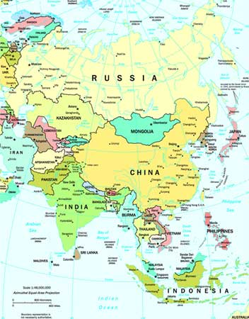 Asia Map Map of Asia Asia Travel Map Tourist Map of Asia