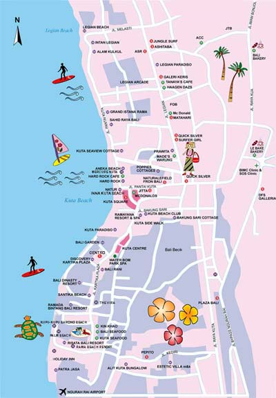 Kuta Map Kuta Bali Map Road Map of Kuta Kuta Travel Map Kuta