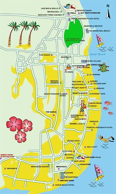Map Of Sanur Bali Beach